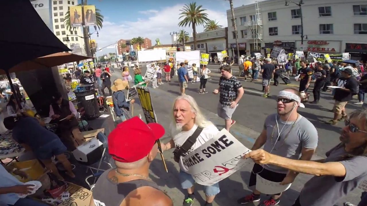 Whoa! Watch This Trump Supporter Take Out an Anti-Trump Demonstrator